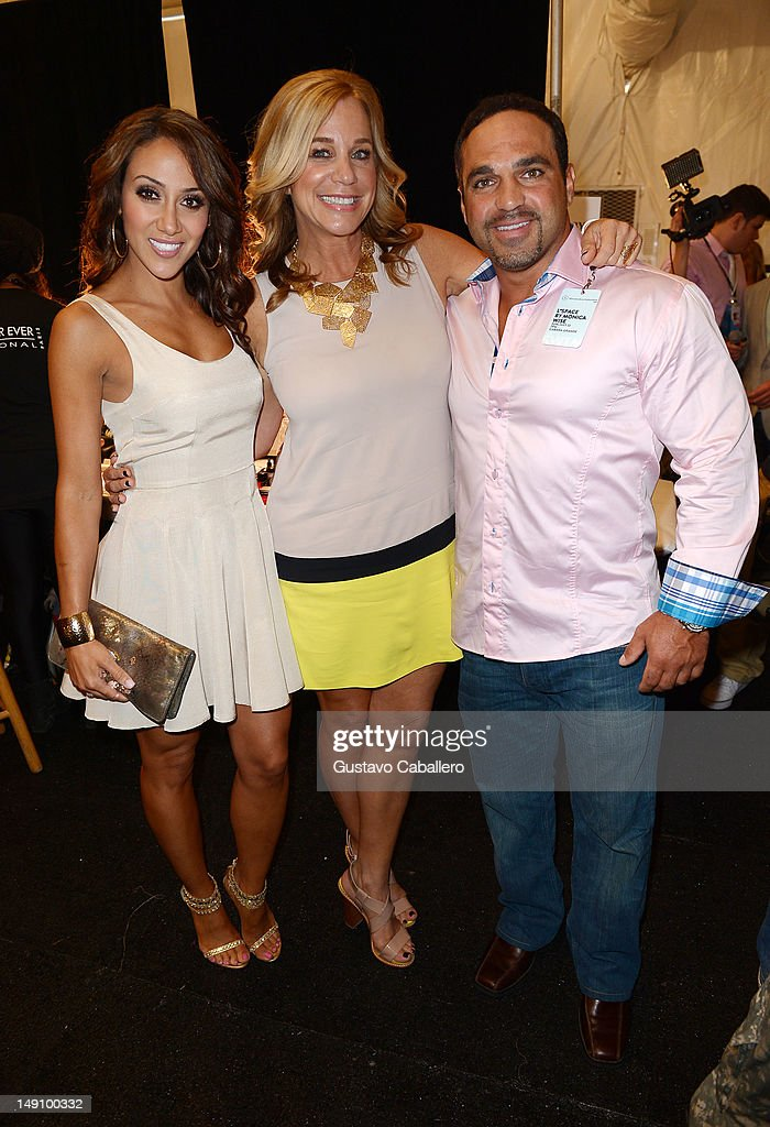 Melissa Gorga and Joe Gorga pose with Designer Monica Wise backstage at the L Space By Monica Wise show during MercedesBenz Fashion Week Swim 2013 at...