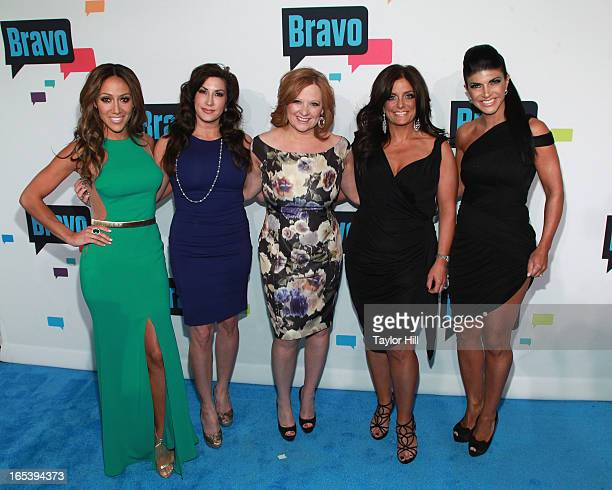 Melissa Gorga Jacqueline Laurita Caroline Manzo Kathy Wakile and Teresa Giudice of 'The Real Housewives of New Jersey' attend the 2013 Bravo Upfront...