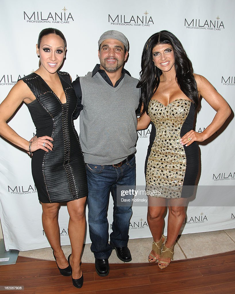Melissa Gorga, Joe Gorga and Teresa Giudice attend the Milania Professional Hair Care Launch Party at Stone House At Stirling Ridge on February 18, 2013 in Warren, New Jersey.