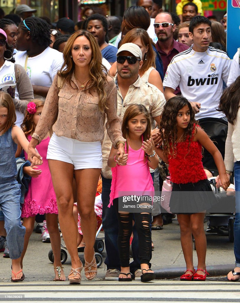 Melissa Gorga Joe Gorga Milania Giudice and Antonia Gorga seen on the streets of Manhattan after attending ANNIE the Musical on August 14 2013 in New...
