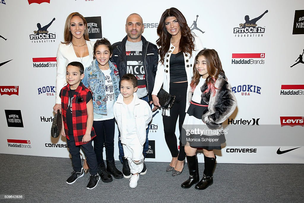 <a gi-track='captionPersonalityLinkClicked' href=/galleries/search?phrase=Melissa+Gorga&family=editorial&specificpeople=7306775 ng-click='$event.stopPropagation()'>Melissa Gorga</a>, <a gi-track='captionPersonalityLinkClicked' href=/galleries/search?phrase=Joe+Gorga+-+Reality-tv-k%C3%A4ndis&family=editorial&specificpeople=11336747 ng-click='$event.stopPropagation()'>Joe Gorga</a>, <a gi-track='captionPersonalityLinkClicked' href=/galleries/search?phrase=Milania+Giudice&family=editorial&specificpeople=6925400 ng-click='$event.stopPropagation()'>Milania Giudice</a> and <a gi-track='captionPersonalityLinkClicked' href=/galleries/search?phrase=Teresa+Giudice&family=editorial&specificpeople=5912953 ng-click='$event.stopPropagation()'>Teresa Giudice</a> pose backstage at the Rookie USA Presents Kids Rock! Fall 2016 fashion show during New York Fashion Week: The Shows at The Dock, Skylight at Moynihan Station on February 11, 2016 in New York City.