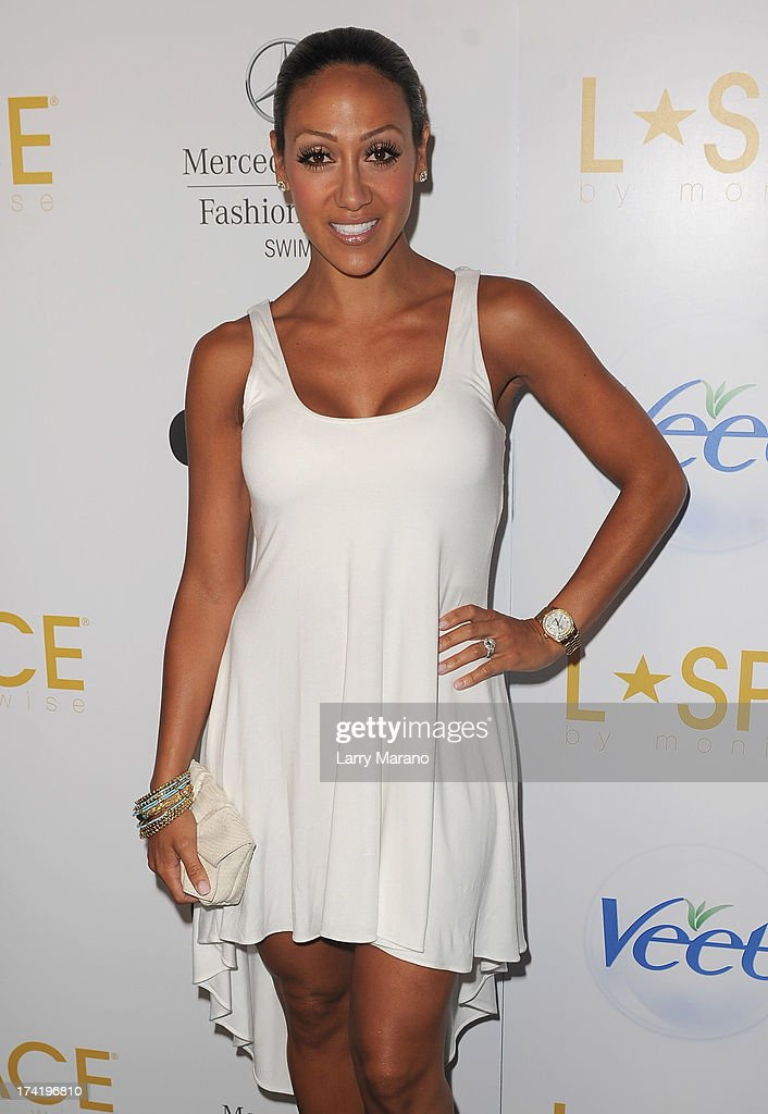 Melissa Gorga poses backstage at the L*Space By Monica Wise show during Mercedes-Benz Fashion Week Swim 2014 at Cabana Grande at the Raleigh on July 21, 2013 in Miami, Florida.