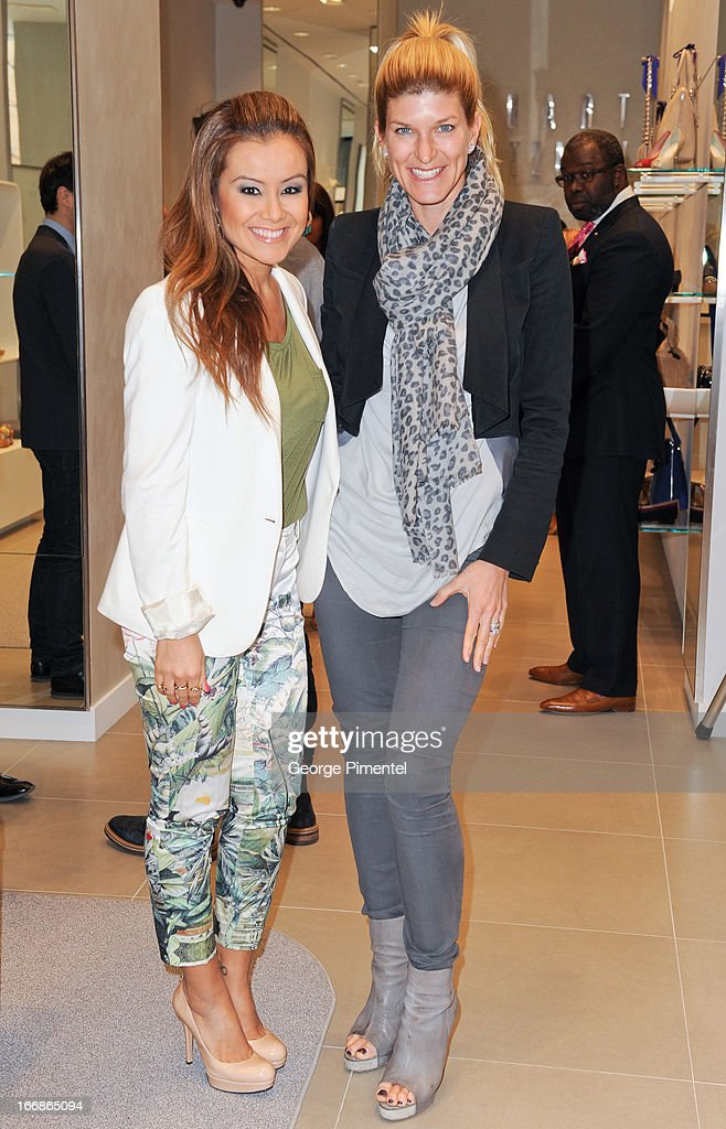 Melissa Grelo and Suzanne Cohon attend the opening of the Stuart Weitzman Boutique on April 17, 2013 in Toronto Ontario Canada.