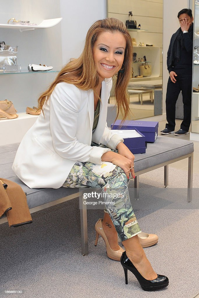 Melissa Grelo attends the opening of the Stuart Weitzman Boutique on April 17, 2013 in Toronto Ontario Canada.