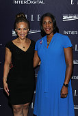 Melissa Harris Perry and Teresa Younger attend a reception hosted by ELLE EditorinChief Robbie Myers and Center for American Progress President Neera...