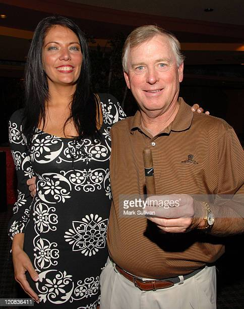 Melissa Hazelton and former US vice president Dan Quayle attend Backstage Creations at 2008 American Century Championship July 10 2008 at Harrahs...