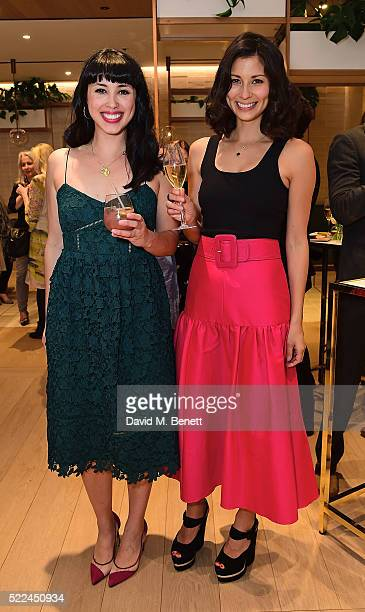 Melissa Hemsley and Jasmine Hemsley attend the launch of the Hemsley Hemsley Cafe at Selfridges in the Body Studio on April 19 2016 in London England