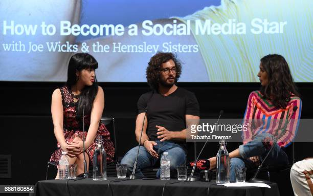 Melissa Hemsley Joe Wicks Jasmin Hemsley speak on stage during the panel discussion 'How To Become a Social Media Star' at the BFI Radio Times TV...