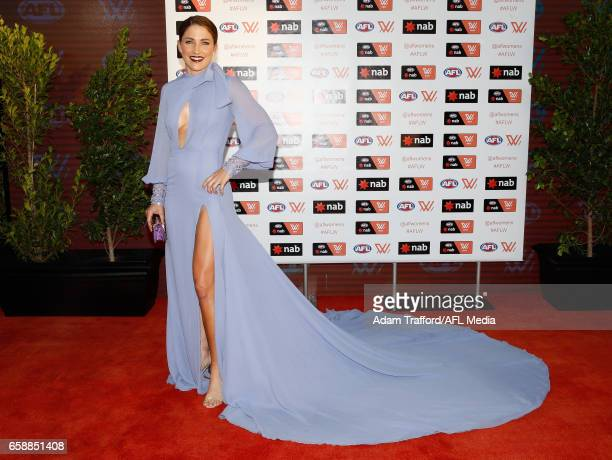 Melissa Hickey of the Demons arrives during the The W Awards at the Peninsula on March 28 2017 in Melbourne Australia