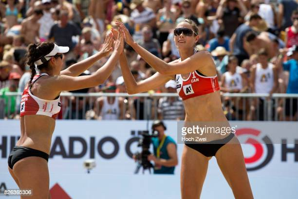 Melissa HumanaParedes and Sarah Pavan of Canada celebrate during Day 8 of the FIVB Beach Volleyball World Championships 2017 during Day 8 of the FIVB...