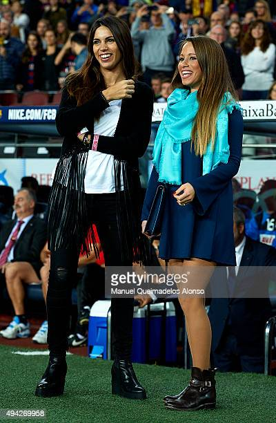 Melissa Jimenez and Raquel Mauri attend the La Liga match between FC Barcelona and SD Eibar at Camp Nou Stadium on October 25 2015 in Barcelona Spain