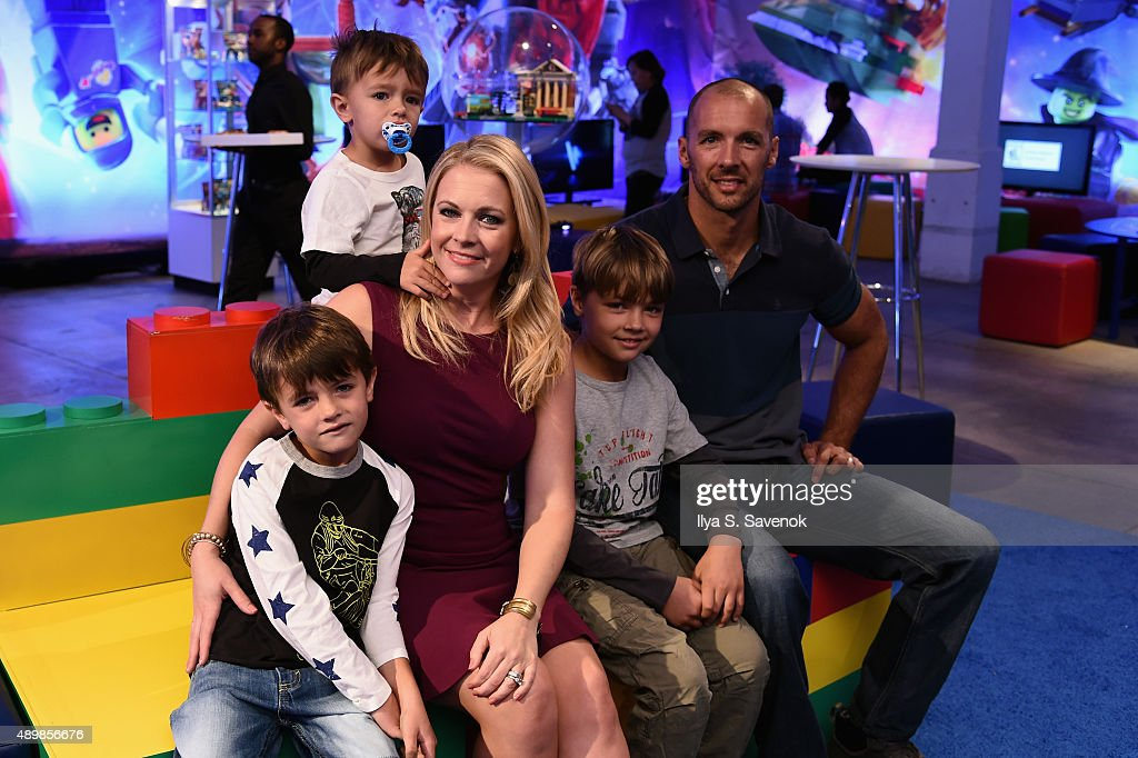 Melissa Joan Hart and family attend the launch party of LEGO Dimensions, the new toys for life, on September 24, 2015 in New York City.