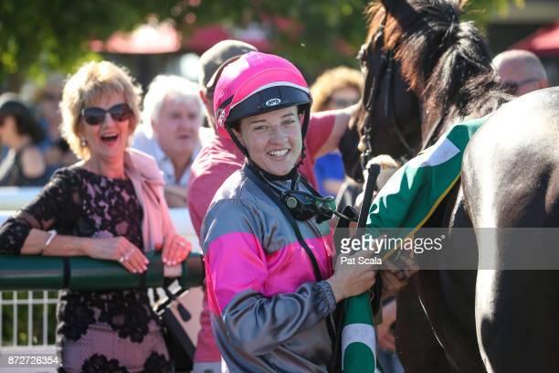 Melissa Julius returns to the mounting yard on Leishman after winning Ballan District Health Care 0 58 Handicap at Geelong Racecourse on November 11...