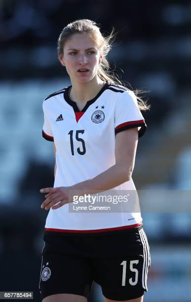 Melissa Kiara Kossler of Germany during the Germany v Italy U17 Girl's Elite Round at Keys Park on March 25 2017 in Cannock England