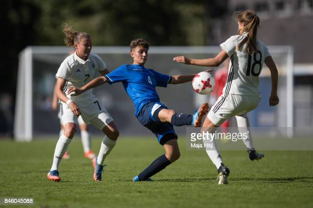 Melissa Koessler of Germany and Diellza Hyseni of Kosovo battle for the ball during U19 Women's Germany and U19 Women's Kosovo UEFA Under19 Women's...