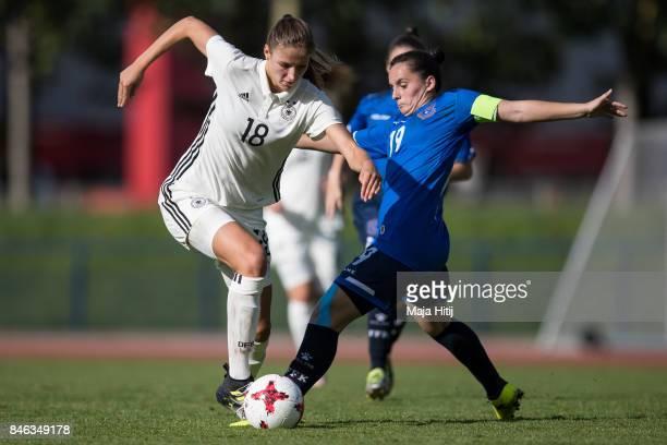 Melissa Koessler of Germany and Marigone Tahiri of Kosovo battle for the ball during the U19 Women's Germany and U19 Women's Kosovo UEFA Under19...
