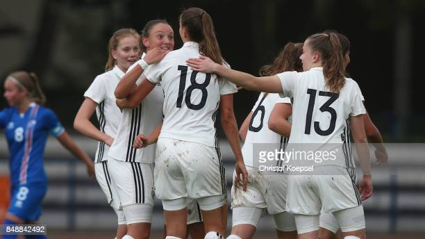 Melissa Koessler of Germany celebrates the first goal with her team mates during the UEFA Under19 Women's Euro Qualifier match between Germany and...