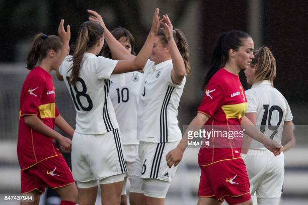 Melissa Koessler of Germany celebrates with a team after scoring a goal to make it 80 during U19 Women's Germany and U19 Women's Montenegro UEFA...