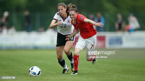 Melissa Koessler of Germany fights for the ball with Stefanie Schneeberger of Austria during the U16 girl's international friendly between U16 girl's...