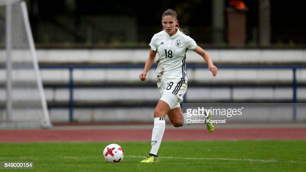 Melissa Koessler of Germany runs with the ball during the UEFA Under19 Women's Euro Qualifier match between Germany and Iceland at Stadium Wedau III...