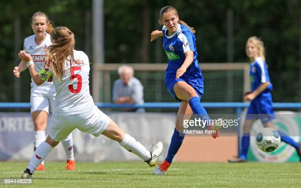 Melissa Koessler of Potsdam battles for the ball with Anna Julia Grassinger of Koeln during the B Junior Girl's German Championship semi final match...
