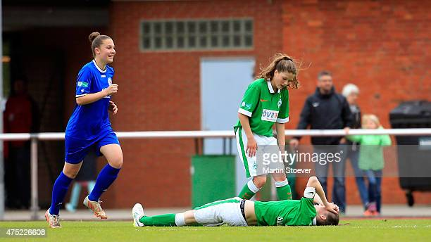 Melissa Koessler of Potsdam celebrates his goal during the U17 Girl's Bundesliga final match between SV Werder Bremen and Turbine Potsdam at Werser...