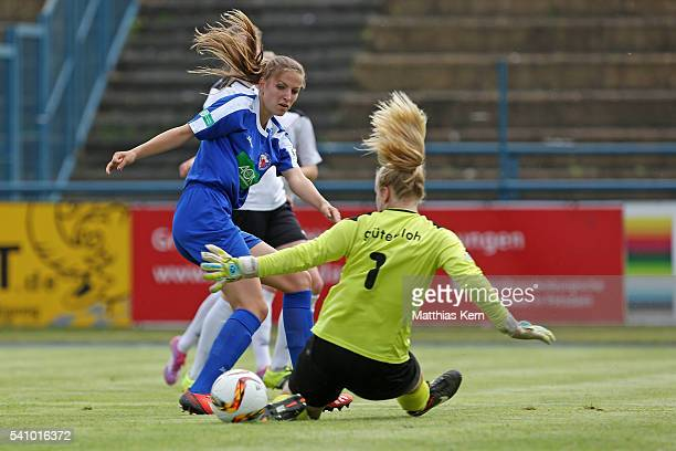 Melissa Koessler of Potsdam scores the second goal during the U17 Girl's German Championship final match between 1FFC Turbine Potsdam and FSV...