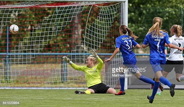 Melissa Koessler of Potsdam scores the sixt goal during the U17 Girl's German Championship final match between 1FFC Turbine Potsdam and FSV...