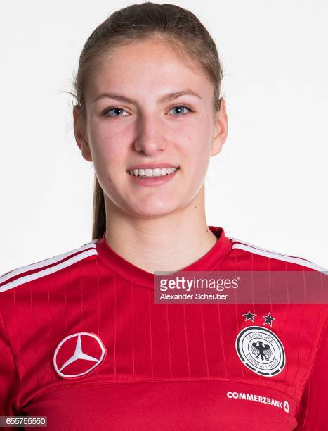 Melissa Koessler poses during germany U17 girl's team presentation on March 20 2017 in Grunberg Germany
