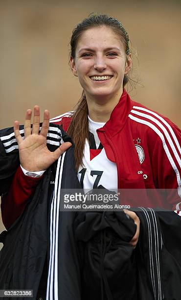 Melissa Kossler of Germany leaves the pitch after the international friendly match between U17 Girl's Germany and U17 Girl's France at Complex...