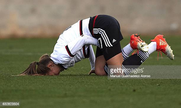 Melissa Kossler of Germany reacts on the pitch during the international friendly match between U17 Girl's Germany and U17 Girl's France at Complex...