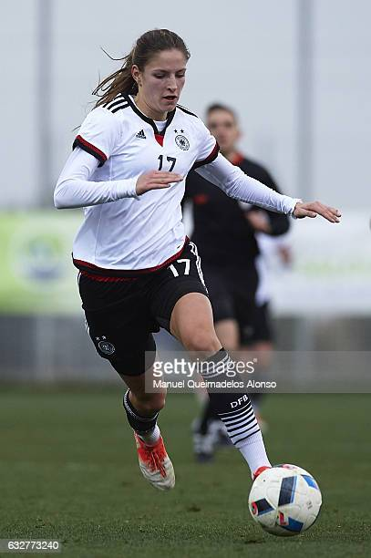 Melissa Kossler of Germany runs with the ball during the international friendly match between U17 Girl's Germany and U17 Girl's France at Complex...