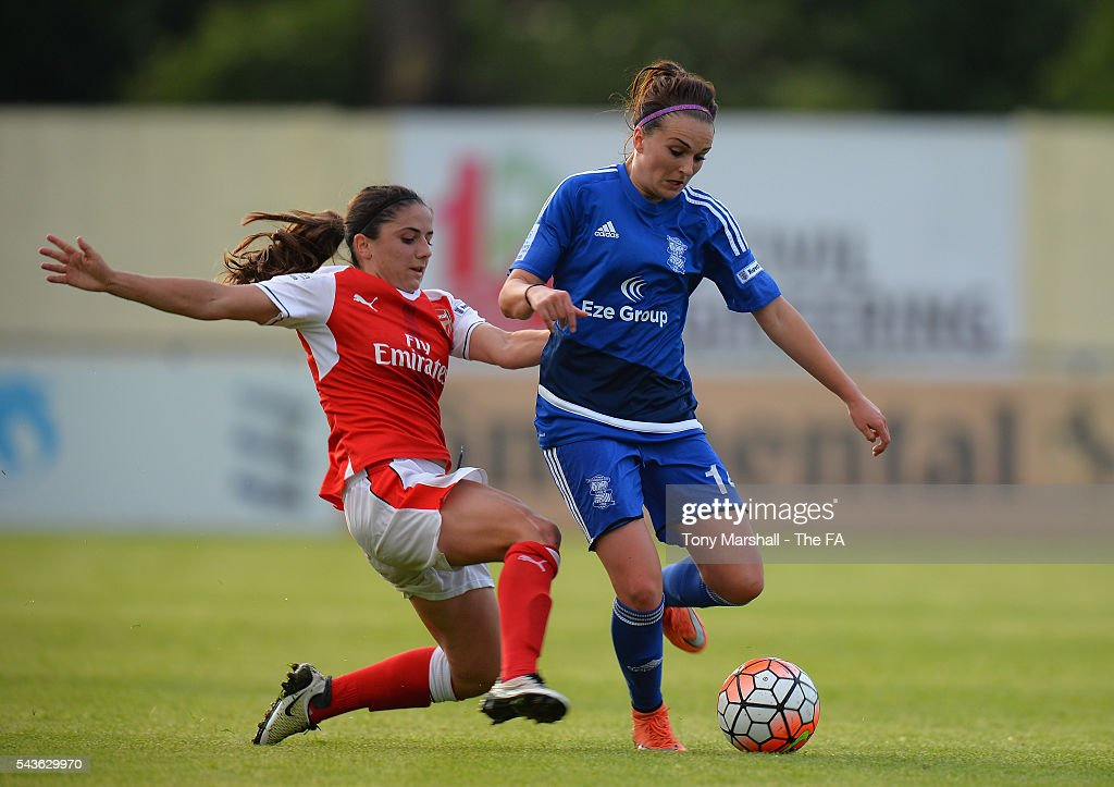 Melissa Lawley of Birmingham City Ladies is tackled by Emma Mitchell of Arsenal Ladies FC during the WSL match between Birmingham City Ladies and Arsenal Ladies FC at Automated Technology Stadium on June 29, 2016 in Solihull, England.