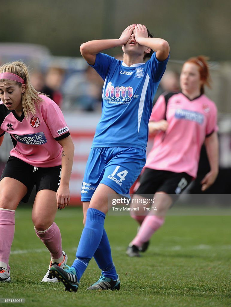 Melissa Lawley of Birmingham City reacts after missing a last minute goal chance during the FA Women's Super League match between Birmingham City Ladies FC and Lincoln Ladies FC at DCS Stadium, Stratford Town FC on April 21, 2013 in Stratford, England.