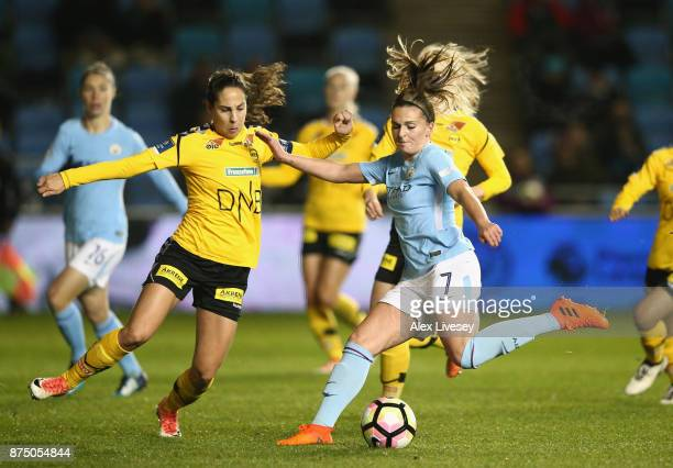 Melissa Lawley of Manchester City Women takes on Ingrid Moe Wold of LSK Kvinner during the UEFA Women's Champions League match between Manchester...