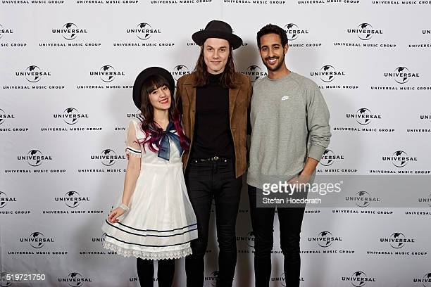 Melissa Lee James Bay and Sami Slimani attend the preparty hosted by Universal Music ahead of the Echo Award 2016 at ICB on April 7 2016 in Berlin...