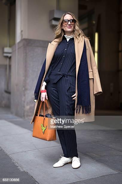 Melissa LieblingGoldberg is seen attending New York Mens Day at Dune Studios wearing Carven coat Mansur Gavriel bag and a Sesame jumpsuit on January...