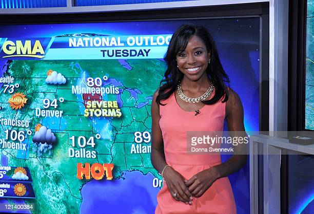 AMERICA Melissa Magee gives the day's weather report on 'Good Morning America' 8/16/11 airing on the ABC Television Network MELISSA