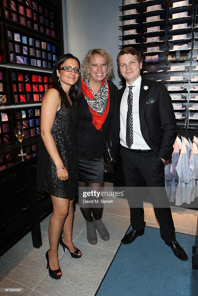 Melissa Magnusson, Lotta Ryden and Ryan Squibb attend the opening of ETON shirts London flagship store on South Moulton Street on May 2, 2013 in London, England.