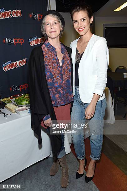 Melissa McBride and Lauren Cohan attend AMC presents 'The Walking Dead' at New York Comic Con at The Theater at Madison Square Garden on October 8...