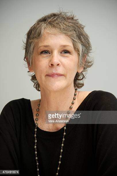 Melissa McBride at 'The Walking Dead' Press Conference at the Four Seasons Hotel on April 20 2015 in Beverly Hills California