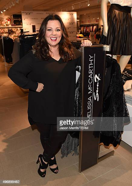 Melissa McCarthy attends the debut of her Seven7 holiday collection at Lane Bryant on November 12 2015 in Culver City California