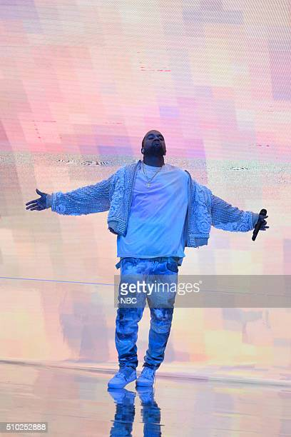 LIVE 'Melissa McCarthy' Episode 1696 Pictured Musical guest Kanye West performs on February 13 2016