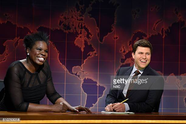 LIVE 'Melissa McCarthy' Episode 1696 Pictured Relationship expert Leslie Jones and Colin Jost during Weekend Update on February 13 2016