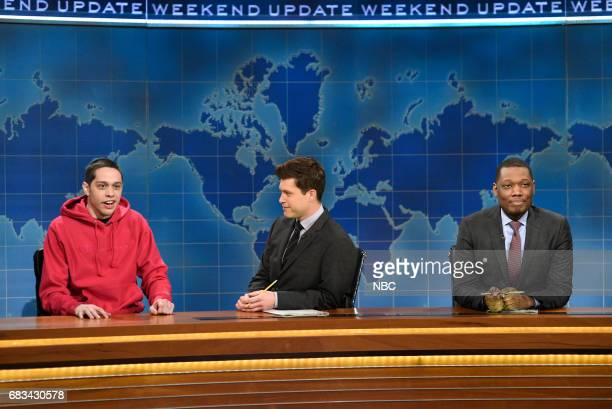 LIVE 'Melissa McCarthy' Episode 1724 Pictured Pete Davidson Colin Jost Michael Che during 'Weekend Update' in Studio 8H on May 13 2017