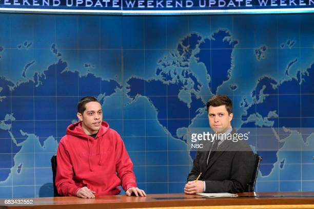 LIVE 'Melissa McCarthy' Episode 1724 Pictured Pete Davidson Colin Jost during 'Weekend Update' in Studio 8H on May 13 2017