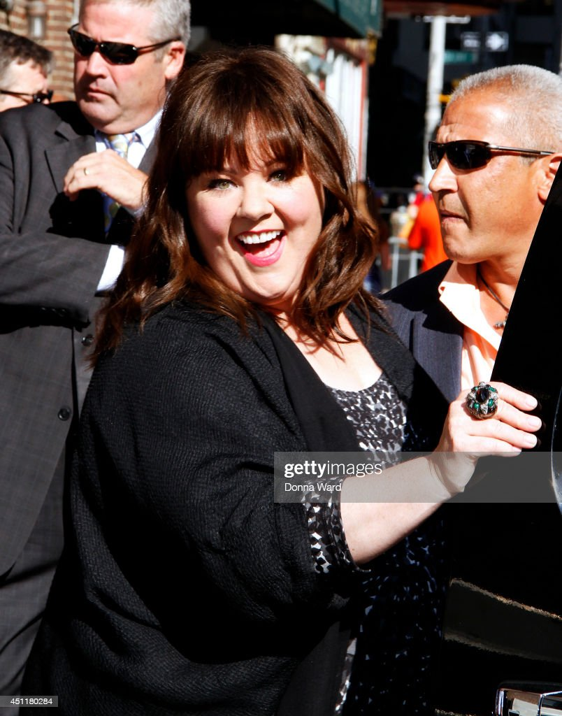 <a gi-track='captionPersonalityLinkClicked' href=/galleries/search?phrase=Melissa+McCarthy&family=editorial&specificpeople=880291 ng-click='$event.stopPropagation()'>Melissa McCarthy</a> leaves the 'Late Show with David Letterman' at Ed Sullivan Theater on June 24, 2014 in New York City.