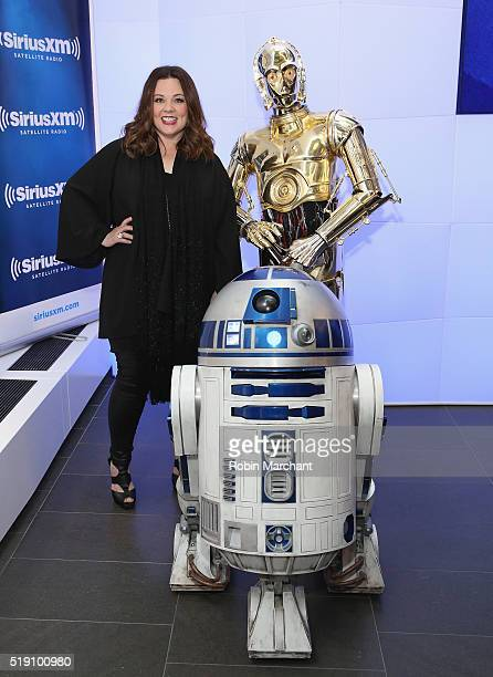 Melissa McCarthy with R2D2 and C3PO visit at SiriusXM Studio on April 4 2016 in New York City
