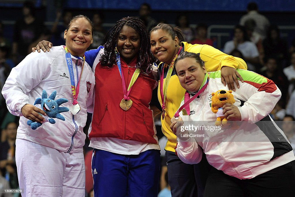 Melissa Mojica of Puerto Rico won the silver medal, Idalys Ortiz of Cuba won the gold medal , Maria Suelen Altheman of Brazil and Vannessa Zambotti of Mexico won the bronze medal at the Judo women's +78kg of the 2011 XVI Pan American Games at the Gym Code II on October 26, 2011 in Guadalajara, Mexico.