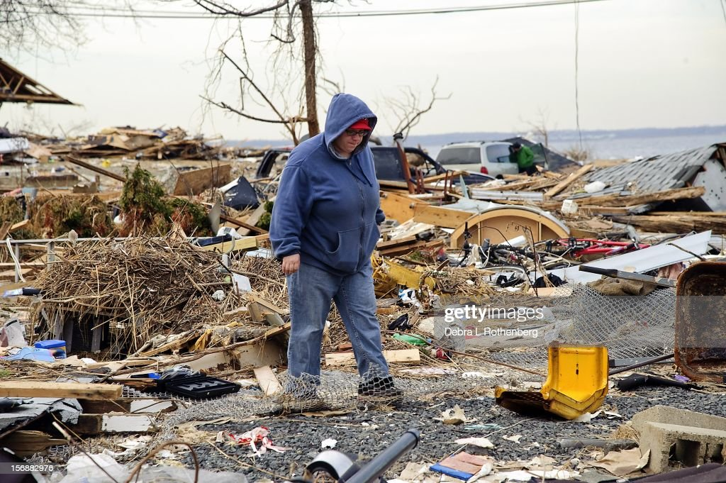 Melissa Morgans-Johnston in the backyard of the house she lived in for 31 years home on Prospect Avenue on November 16, 2012 in Union Beach, New Jersey. Hurricane Sandy devastated this small waterfront town on October 29, 2012. Residents who lived near the water were allowed back into town 3 days ago, only to find many of their homes are either gone or condemned.